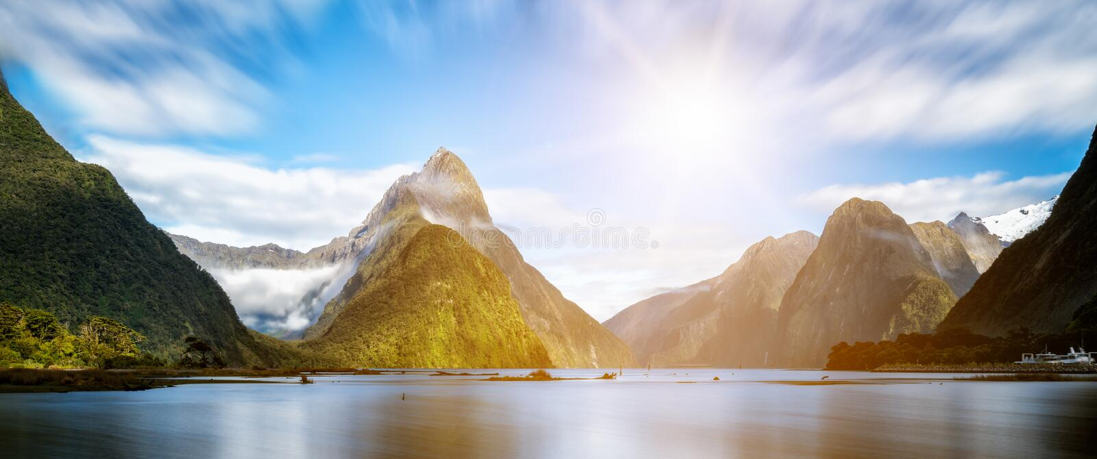 Milford Sound in New Zealand. Milford Sound, New Zealand. - Mitre Peak is the iconic landmark of Milford Sound in Fiordland National Park, South Island of New royalty free stock photography