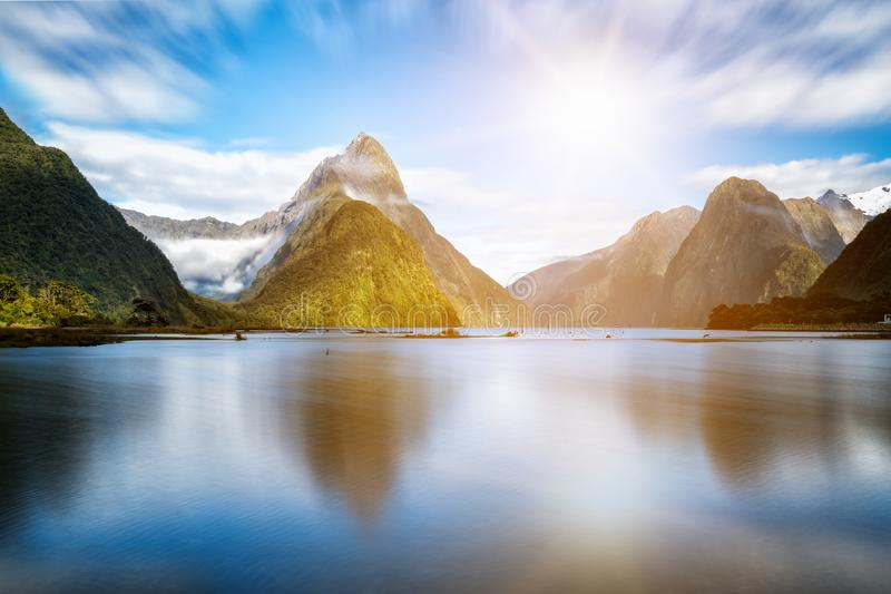 Milford Sound in New Zealand. Milford Sound, New Zealand. - Mitre Peak is the iconic landmark of Milford Sound in Fiordland National Park, South Island of New royalty free stock image