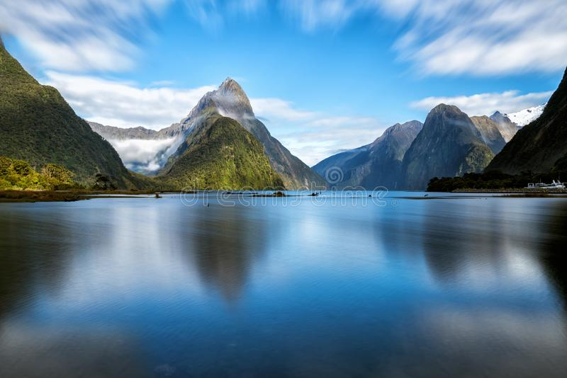 Milford Sound in New Zealand. Milford Sound, New Zealand. - Mitre Peak is the iconic landmark of Milford Sound in Fiordland National Park, South Island of New royalty free stock photo