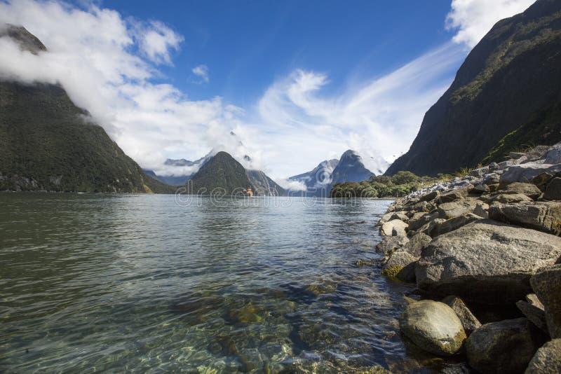 Milford Sound, Nueva Zelandia imagen de archivo