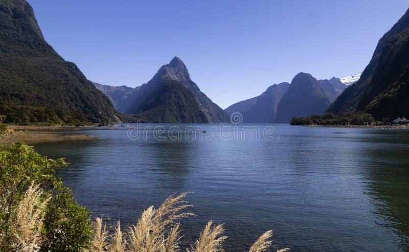 Milford Sound, Nuova Zelanda - il picco del mitra è il punto di riferimento iconico di Milford Sound nel parco nazionale di Fiord immagine stock libera da diritti