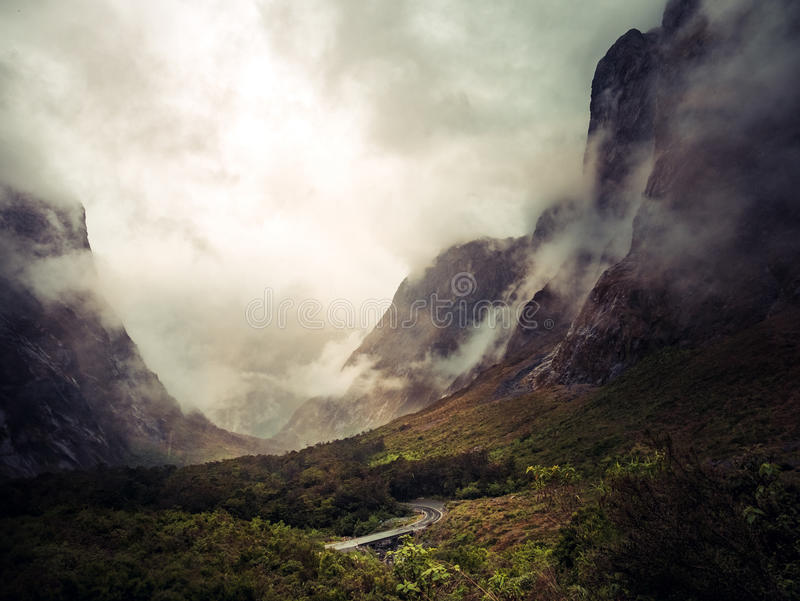 Milford Sounds Highway stock photo