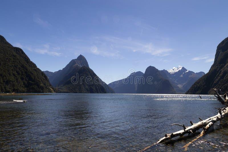 Milfordgeluid, Nieuw Zeeland - bewerk Piek in verstek is het iconische oriëntatiepunt van Milford-Geluid in het Nationale Park va stock afbeelding