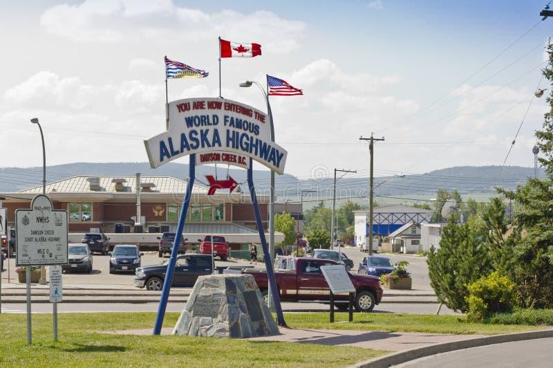 Milha 0 - estrada de Alaska imagem de stock royalty free