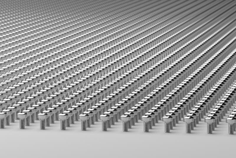 Milhares de parafusos, rendição 3d imagem de stock