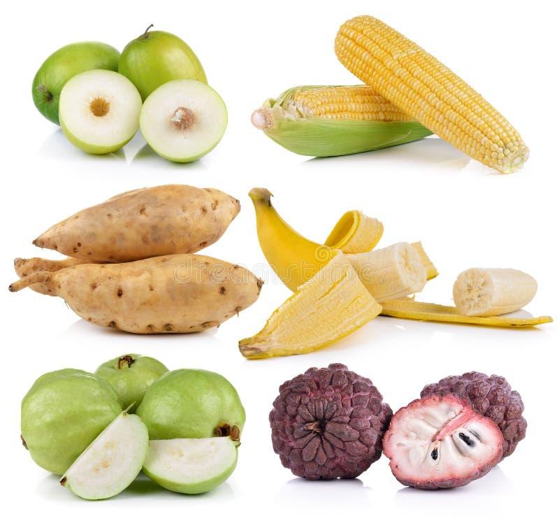 milho, banana, batata doce, goiaba, macaco imagem de stock