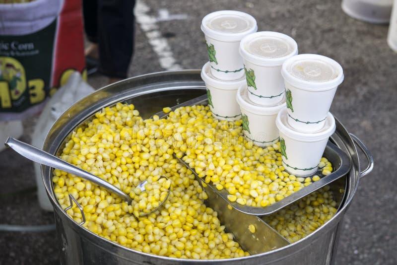 Milho cozinhado pronto para a venda no mercado da noite imagem de stock