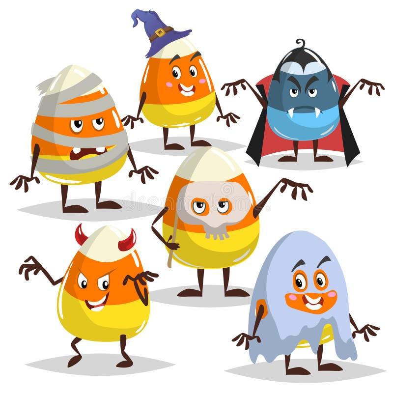 Milho de doces nos trajes diferentes ajustados Com, Dracula, mamã, fantasma e diabo Cole??o dos car?teres de Dia das Bruxas Ilust ilustração do vetor