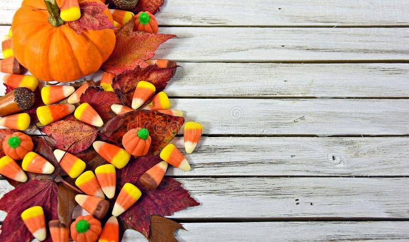 Milho e folhas de doces do outono na madeira fotos de stock royalty free