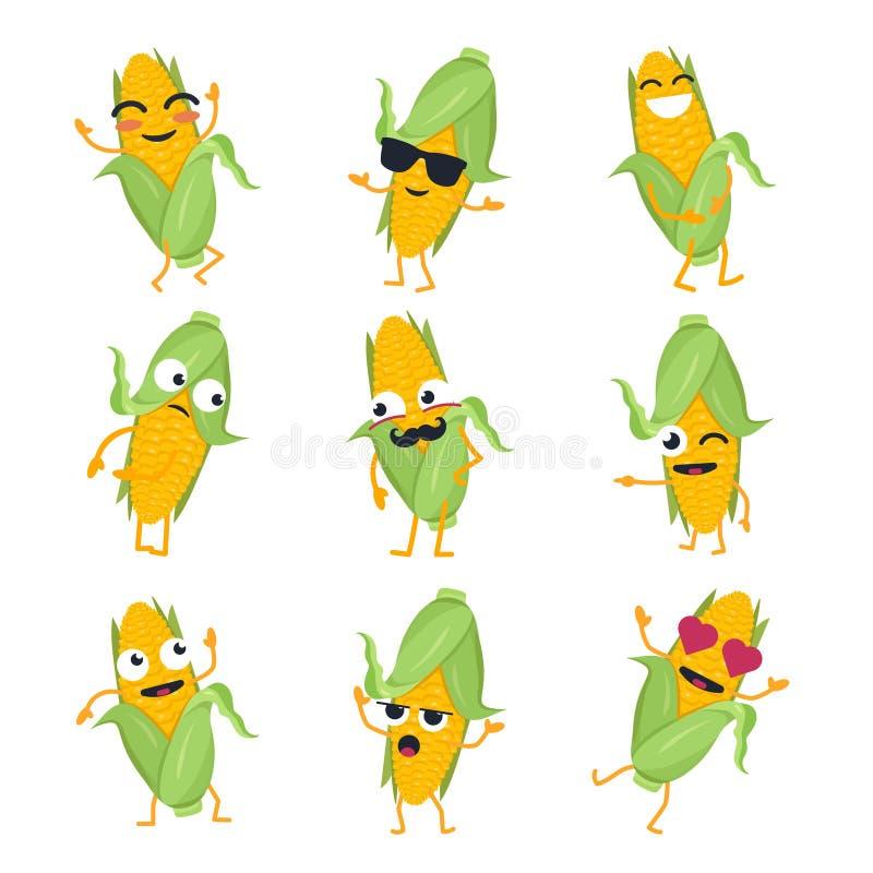 Milho engraçado - emoticons isolados vetor dos desenhos animados ilustração do vetor