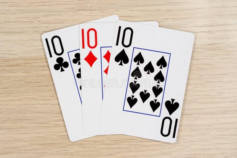 3 mili dziesięć 10 - kasynowe bawić się grzebak karty zdjęcia royalty free