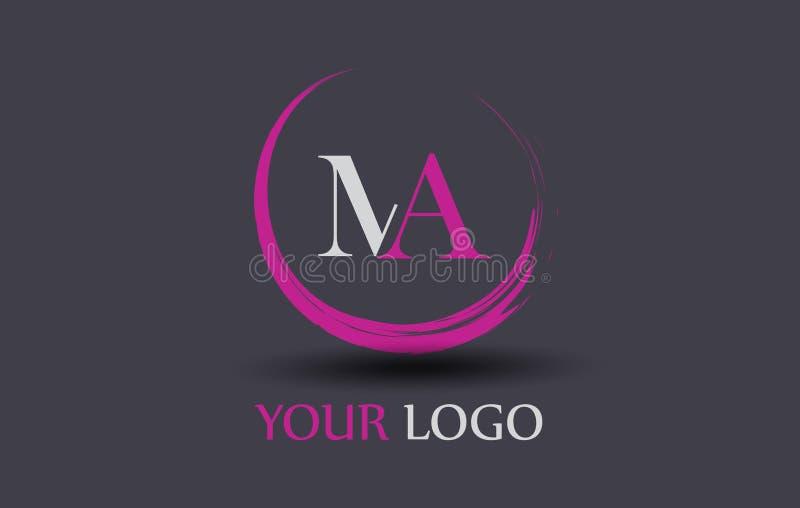 Miliampère M A Letter Logo Design ilustração stock