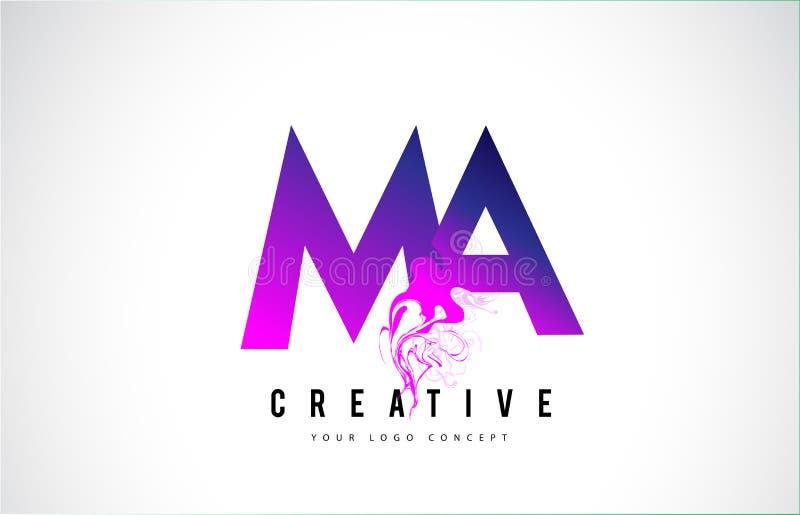 Miliampère M A Purple Letter Logo Design com fluxo líquido do efeito ilustração do vetor