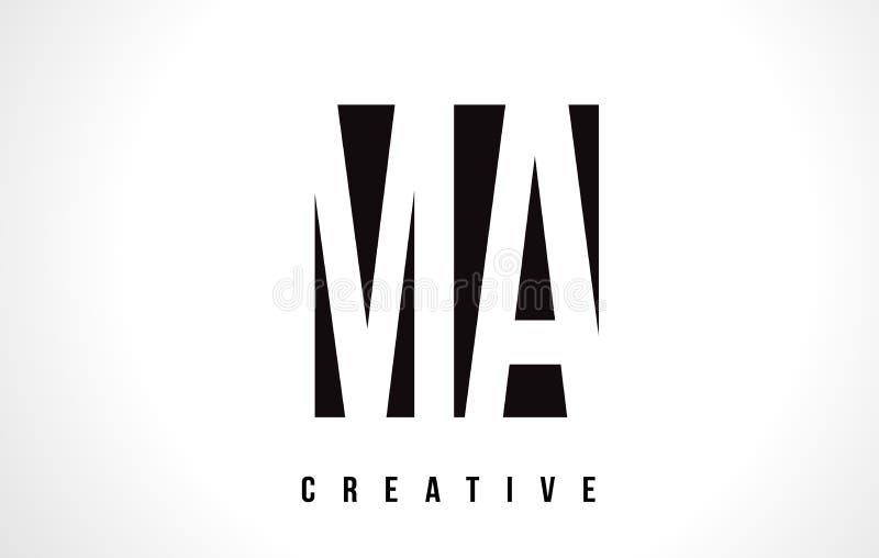 Miliampère M A White Letter Logo Design com quadrado preto ilustração royalty free