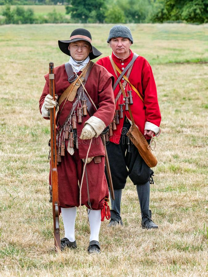 Milice anglaise de guerre civile, parc de Spetchley, Worcestershire, Angleterre photos stock