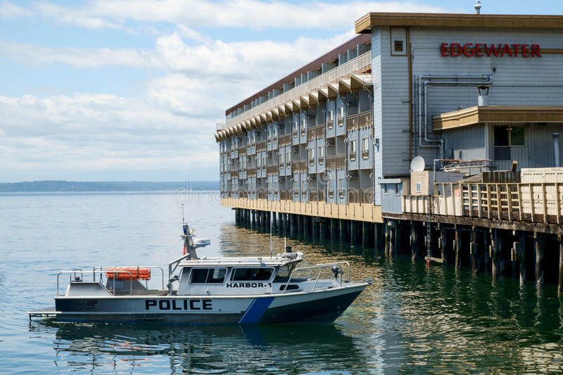 Milicyjna łódź patrolowa w Seattle, WA, usa fotografia stock