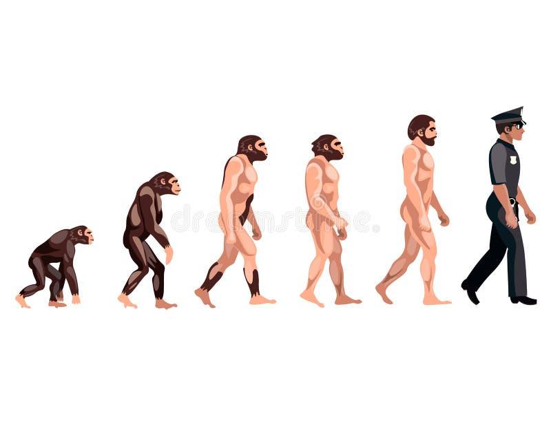 Milicyjna ewolucja na białym tle royalty ilustracja