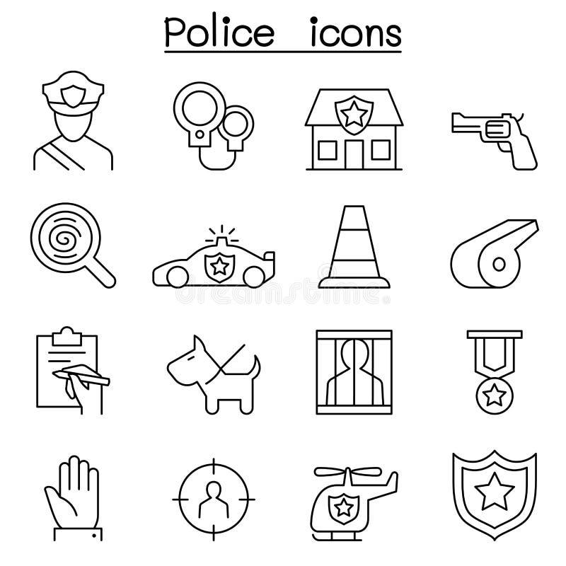 Milicyjna ikona ustawiająca w cienkim kreskowym stylu ilustracji