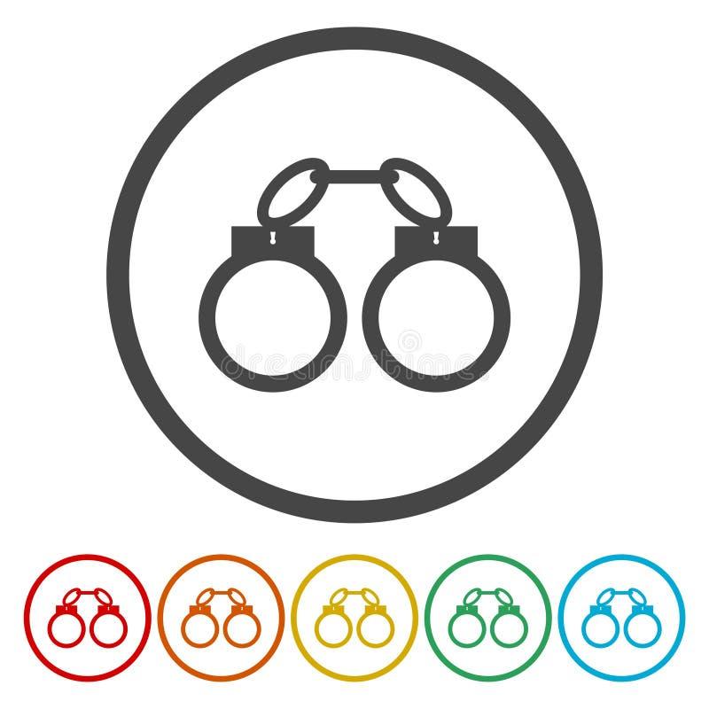 Milicyjna kajdanki ikona Cienki okręgu projekt również zwrócić corel ilustracji wektora royalty ilustracja