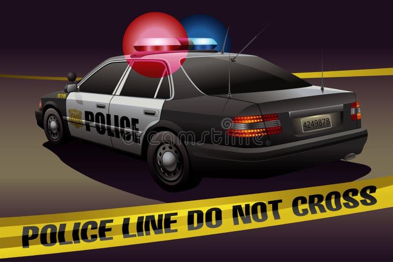 Milicyjna linia z samochodem policyjnym w tle ilustracji