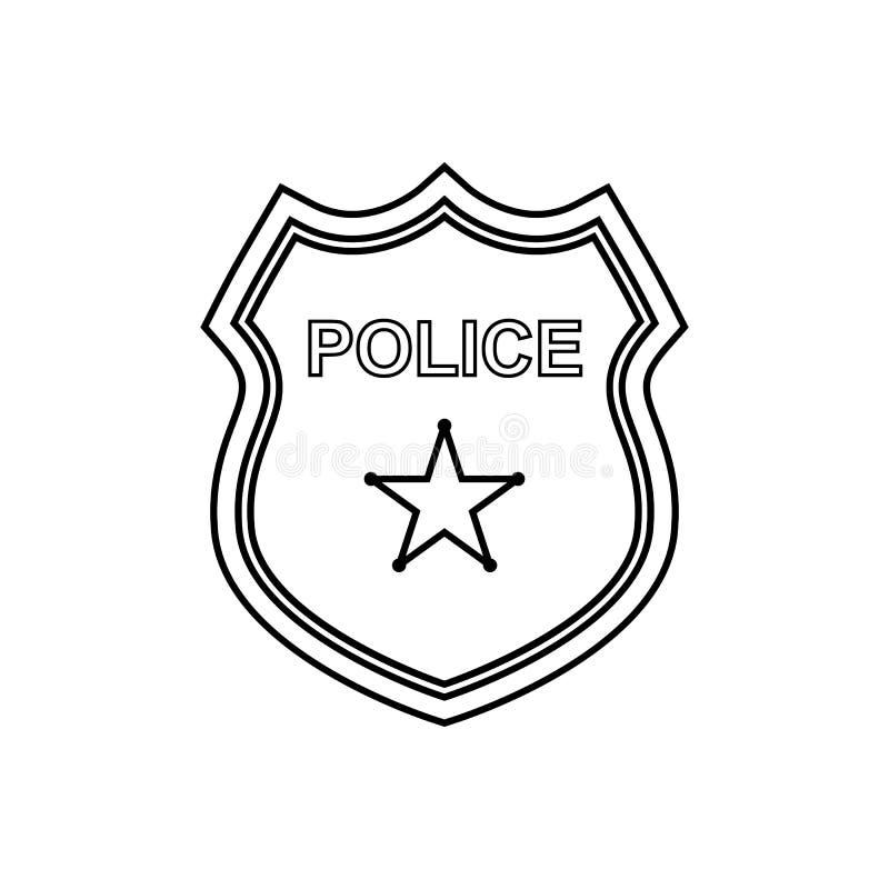 Milicyjna odznaka konturu ikona Liniowa wektorowa ilustracja ilustracja wektor