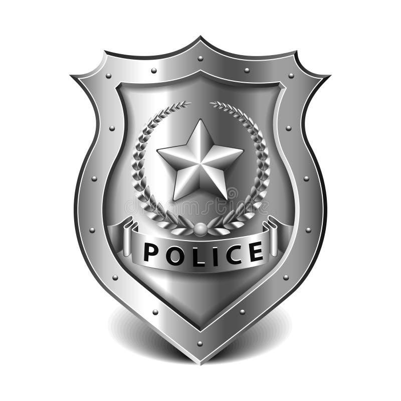Milicyjna odznaka na białym wektorze ilustracja wektor