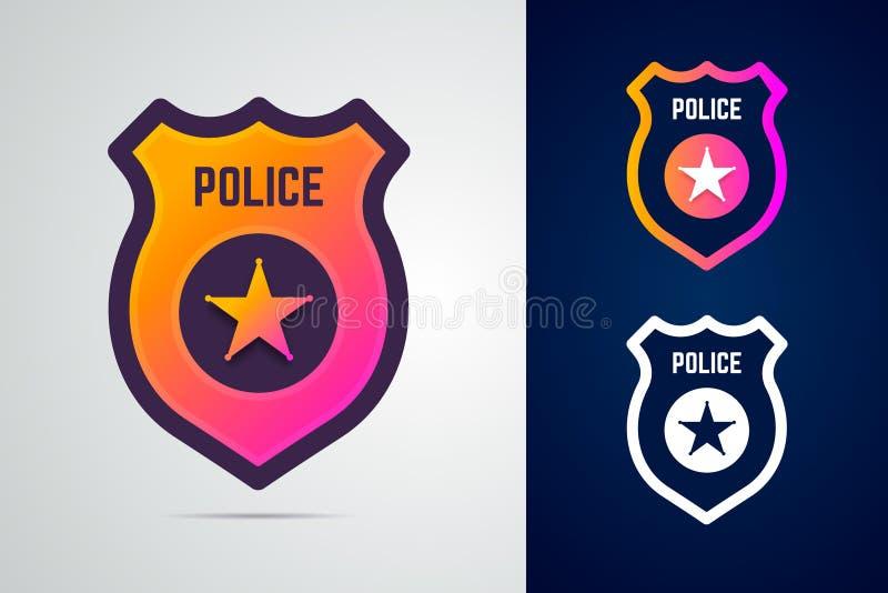 Milicyjna odznaka z gwiazdą w nowożytnym gradientu stylu royalty ilustracja