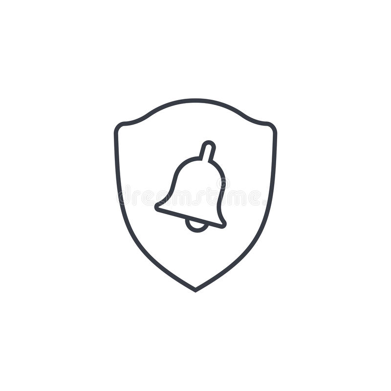 Milicyjna osłona i dzwon, alarma bezpieczeństwa sygnału cienka kreskowa ikona Liniowy wektorowy symbol ilustracji