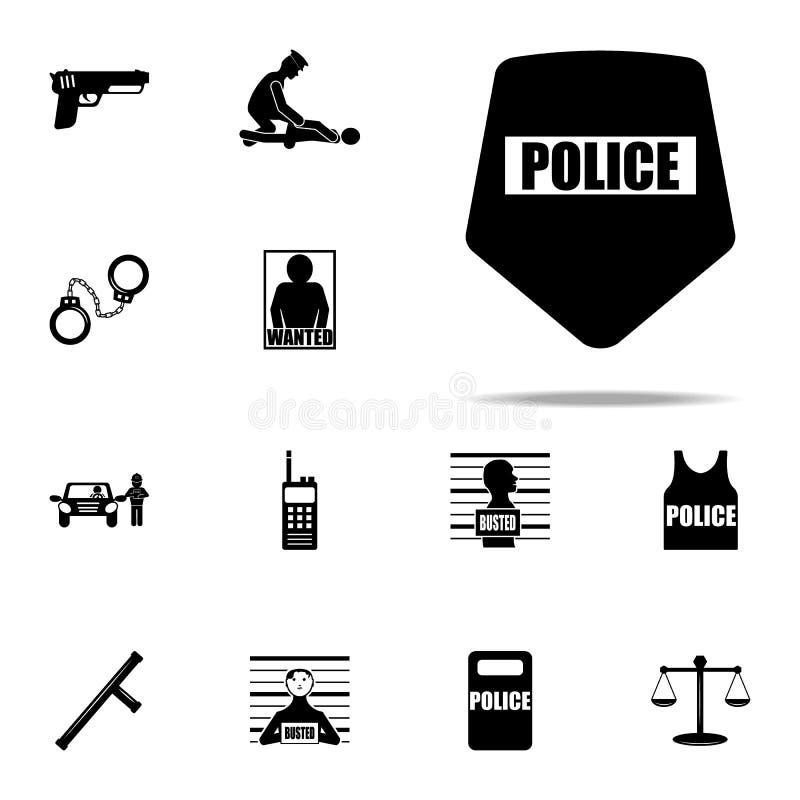milicyjna osłony ikona Milicyjny ikony ogólnoludzki ustawiający dla sieci i wiszącej ozdoby ilustracja wektor