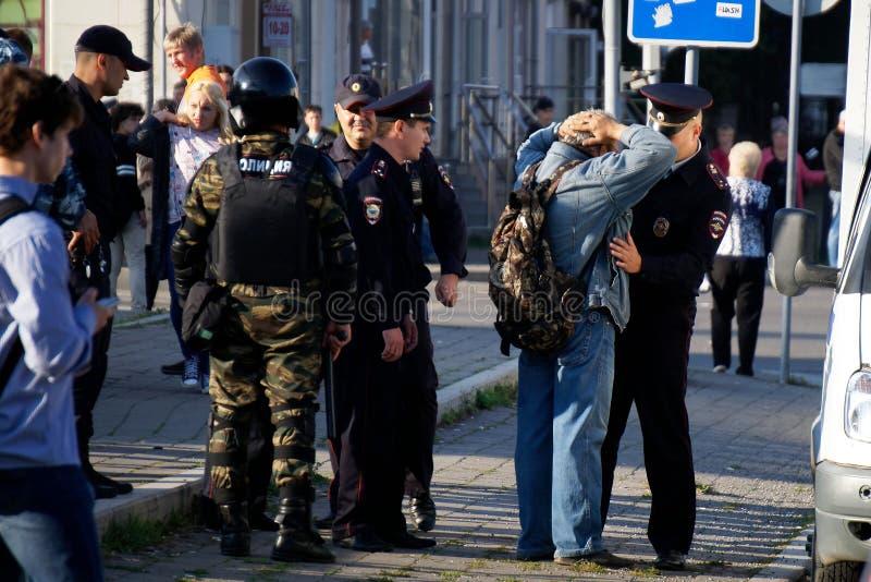 Milicyjna praca w Rosja Protestować, zdjęcia stock