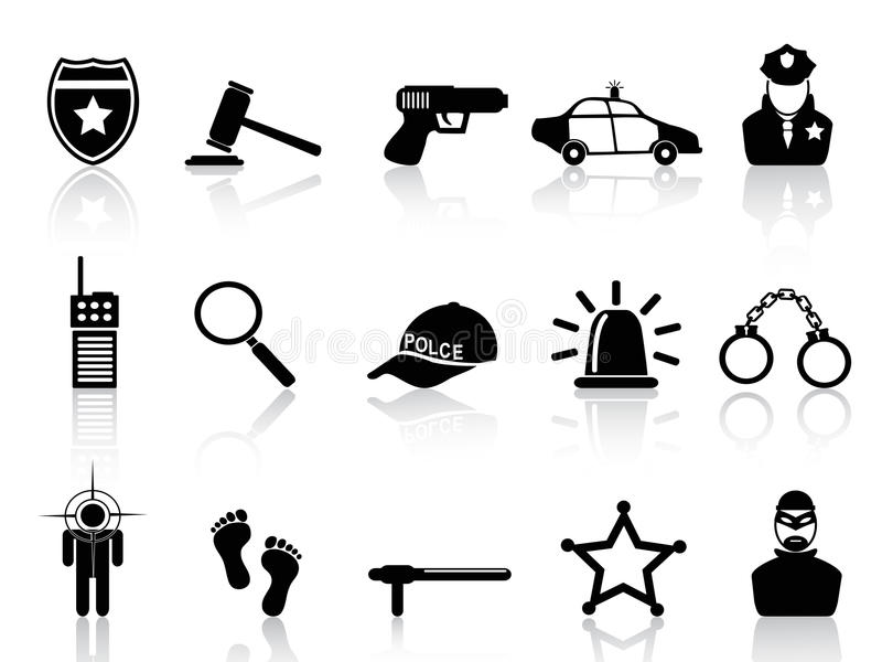 Milicyjne ikony ustawiać ilustracji