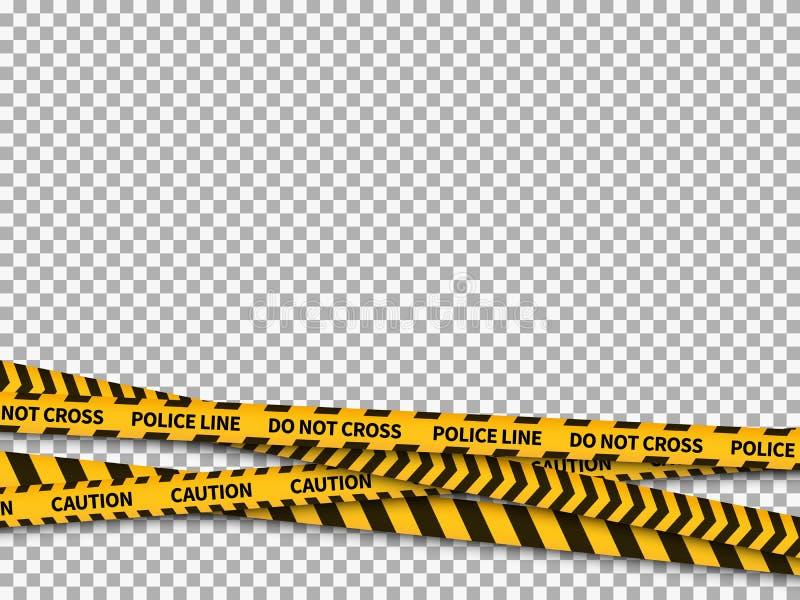 Milicyjnej linii tło Ostrożności taśmy policji ochrony uwagi żółty niebezpieczeństwo nagrywający zakazujący kreskowy bezpieczny p royalty ilustracja