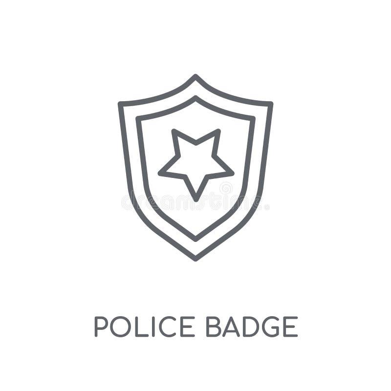 Milicyjnej odznaki liniowa ikona Nowożytny kontur policji odznaki logo conce royalty ilustracja