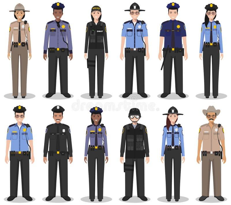 Milicyjni ludzie pojęć Set różna szczegółowa ilustracja pacnięcie oficer, policjant, policjantka i szeryf w mieszkaniu, projektuj ilustracja wektor