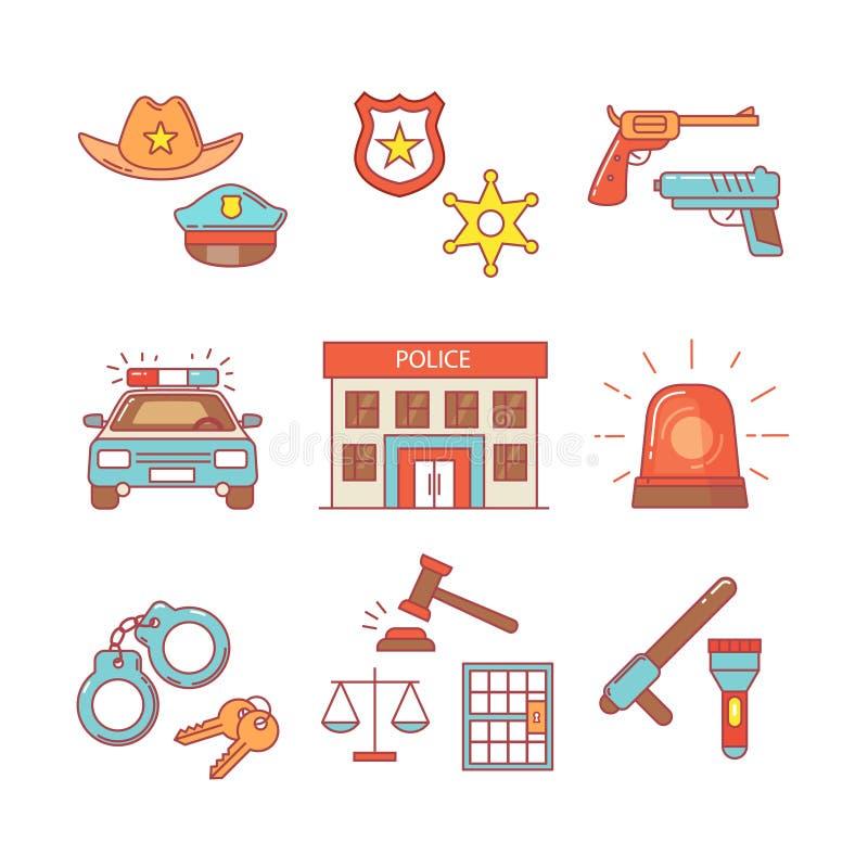 Milicyjny budynek, samochód, sąd i egzekwowanie prawa, ilustracja wektor