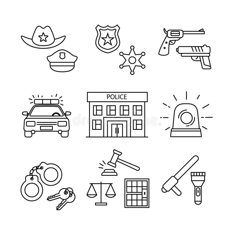Milicyjny budynek, samochód, sąd i egzekwowanie prawa, ilustracji