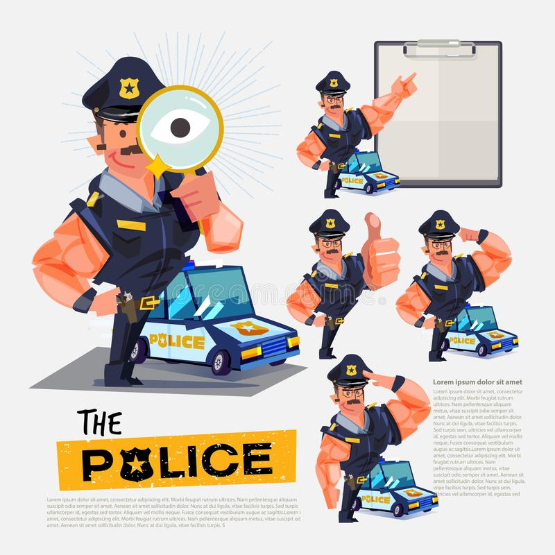 Milicyjny charakteru projekt z różnorodnymi akcjami dla twój prezentaci signage projekta lub - ilustracja ilustracja wektor