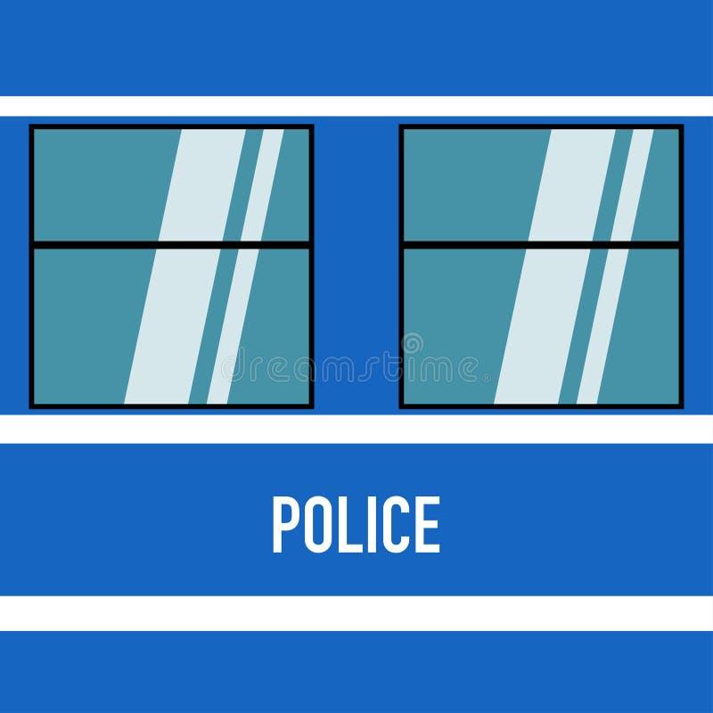 Milicyjny furgon w płaskiego projekta błękitnym bielu ilustracji