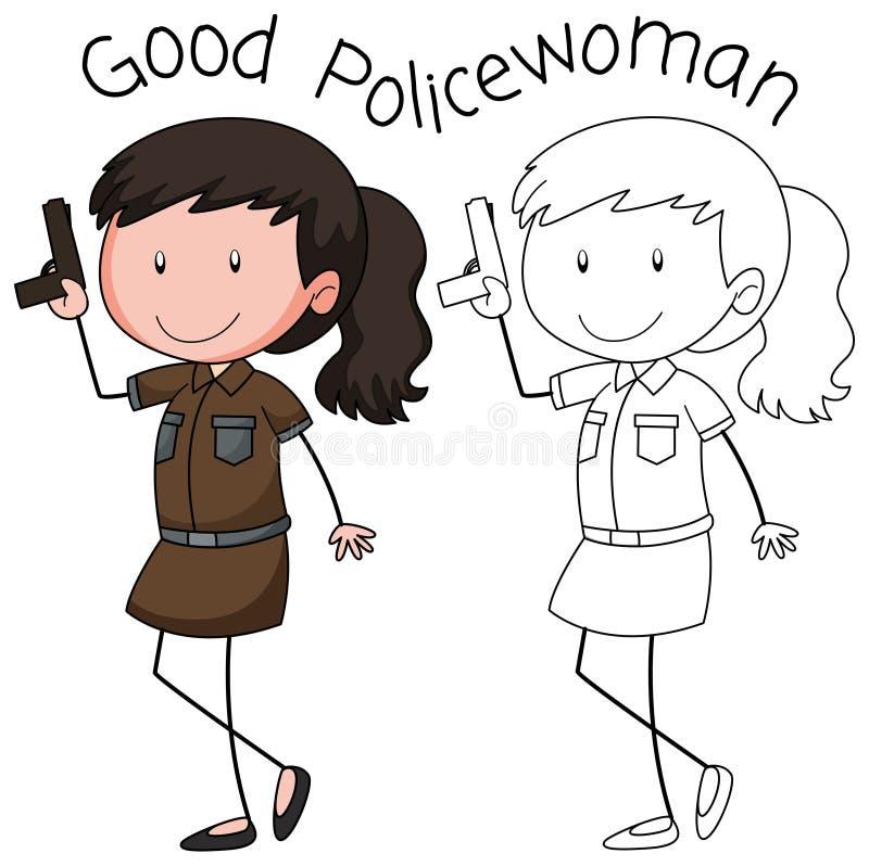 Milicyjny kobieta charakter royalty ilustracja
