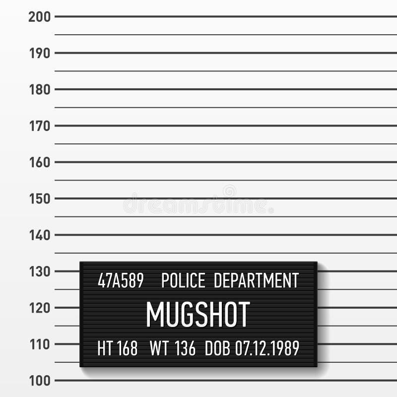Milicyjny mugshot, centymetry ilustracja wektor
