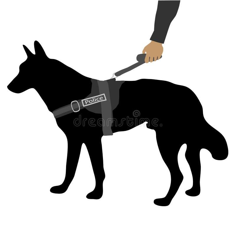 Milicyjny pies na smyczu ilustracja wektor