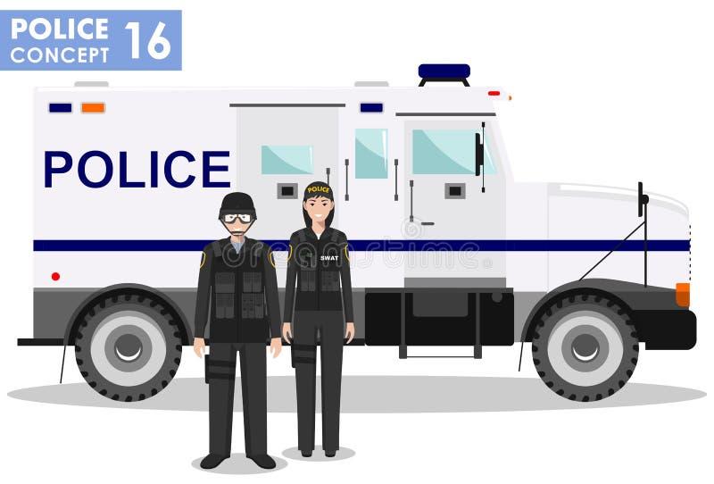 Milicyjny pojęcie Szczegółowa ilustracja pacnięcie oficer, policjant, policjantka i opancerzony samochód w mieszkaniu, projektuje royalty ilustracja