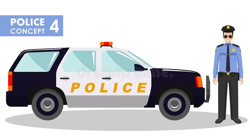 Milicyjny pojęcie Szczegółowa ilustracja policjant i samochód w mieszkaniu projektujemy na białym tle również zwrócić corel ilust ilustracji