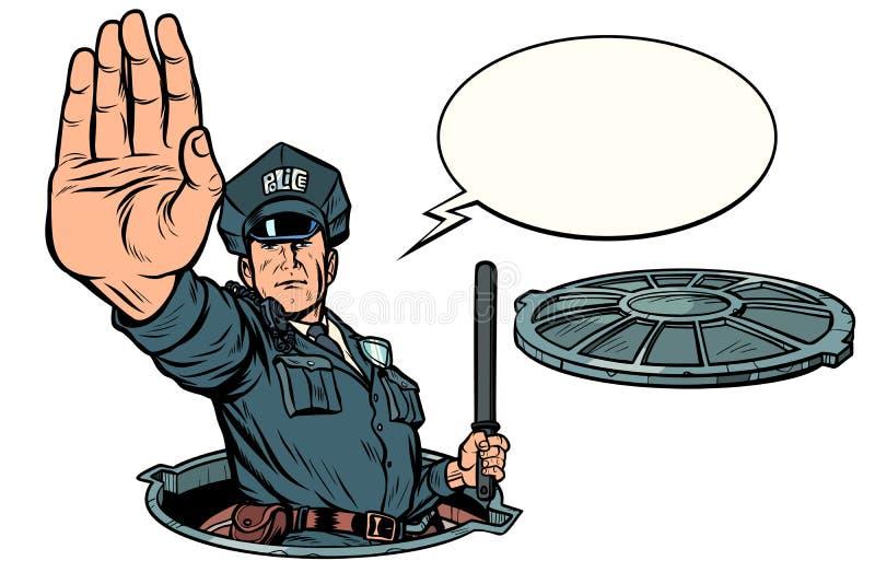 Milicyjny przerwa gest, niebezpieczny manhole Drogowe pracy odizolowywają na białym tle ilustracji