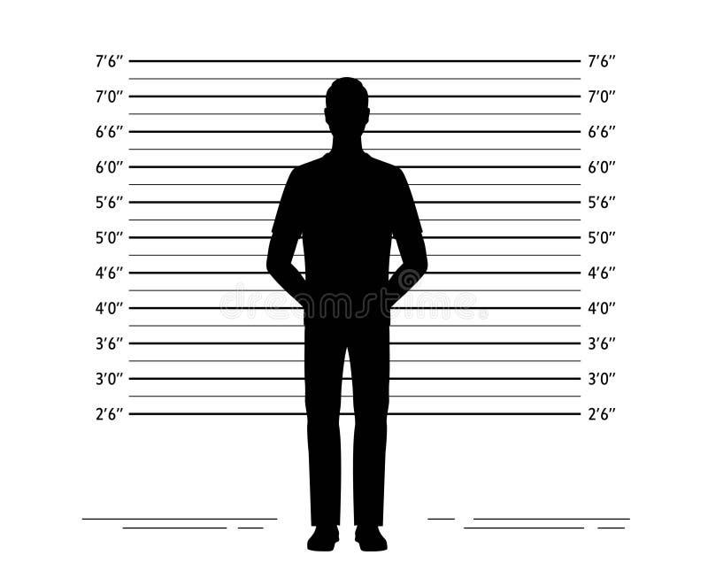 Milicyjny uszeregowanie Mugshot tło z sylwetką anonimowy mężczyzna ilustracji