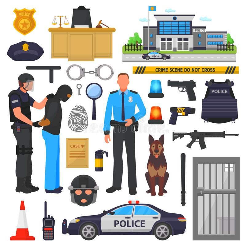 Milicyjny wektorowy policjanta charakter, policeofficer w kamizelce kuloodpornej z kajdankami w biuro ilustraci secie i royalty ilustracja