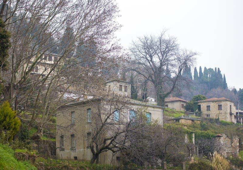 Milies村庄 氧化镁,皮立翁山 希腊 免版税库存照片