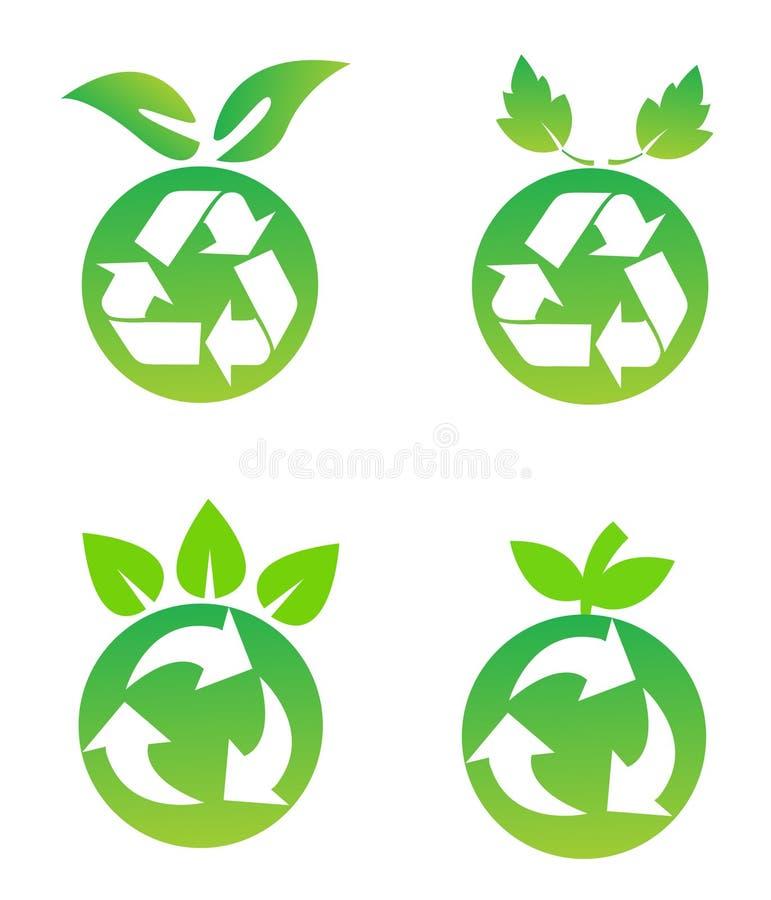 Milieu behoudssymbolen royalty-vrije illustratie