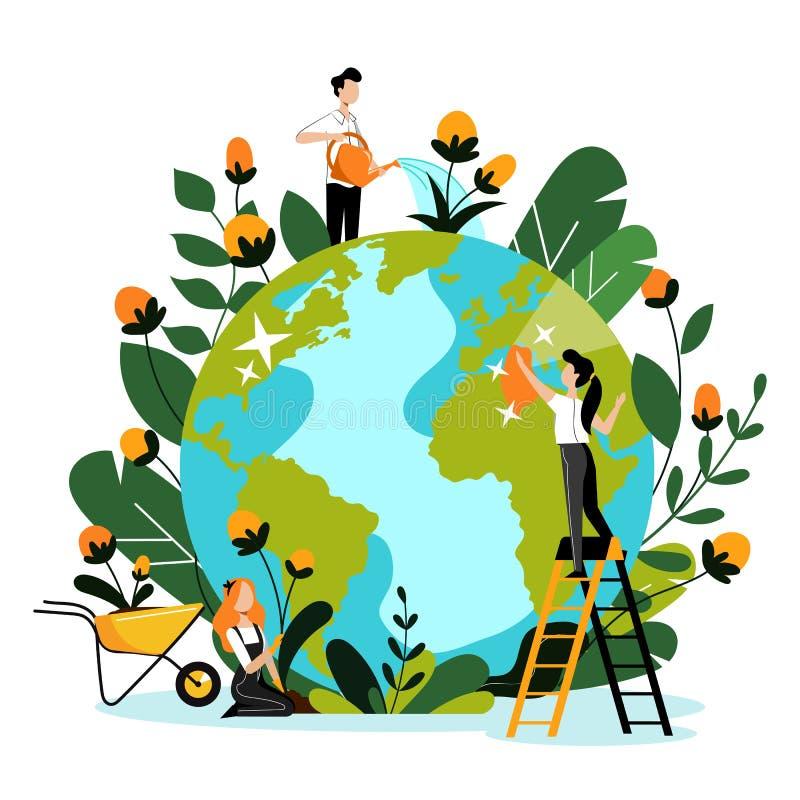 Milieu, ecologie, natuurbeschermingconcept De mensen behandelen Aardeplaneet Vector vlakke beeldverhaalillustratie stock illustratie