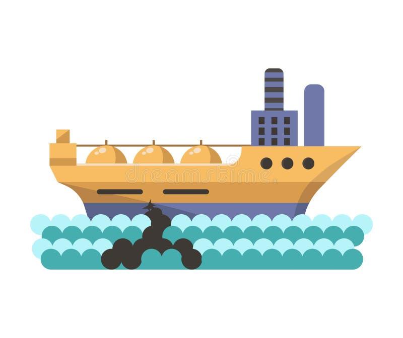 Milieu en aard industriële de verontreinigingsvector van de wateraardolie stock illustratie